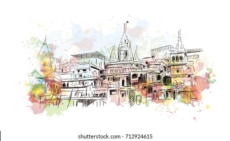 Watercolor sketch of Varanasi Kashi Ghat India in vector illustration.