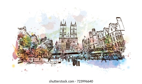Watercolor sketch of Westminster Abbey London, UK (United Kingdom, England) in vector illustration.