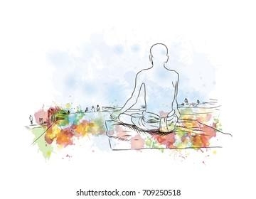 Watercolor sketch of Yogi Sadhu in vector illustration.