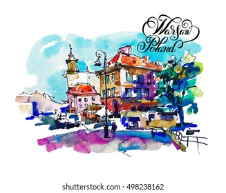watercolor sketching old town historical buildings Warsaw capital city of Poland cityscape for travel book illustration, greeting card, poster and art print