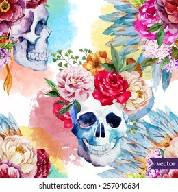 watercolor, skull, flowers, indian, boho, ethnic, pattern, wallpaper, background