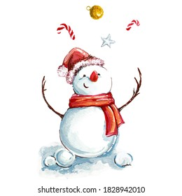 Watercolor of snowman isolated on white, merry Christmas concept. EPS 10 vector