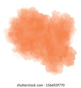 Watercolor soft orange background. Vector abstract illustration. Texture for graphics. Colorful, pastel paint splash, stain on white isolated background. Copy space. EPS 8.  Light and delicate.