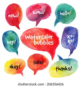 Watercolor speech bubbles set. Vector illustrations