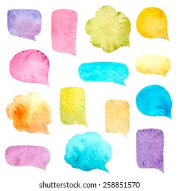 Watercolor speech bubbles set. Vector illustration.