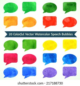 Watercolor speesh bubbles. Colorful template for your design