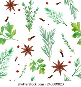 Watercolor spices seamless pattern. Hand drawn food texture with rosemary, thyme, anise, pepper,  dill, parsley. Background with artistic objects on white