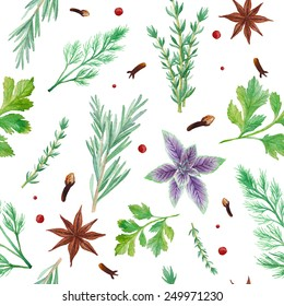 Watercolor spices seamless pattern. Hand drawn food texture with rosemary, thyme, anise, pepper,  dill, parsley, basil. Background with artistic objects on white