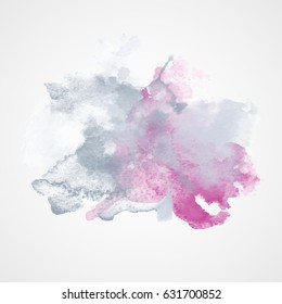 Watercolor Splash with gradient effect. Bright colorful grunge blob. Fashion, beauty,  posters and banners graphic design. Grey and Pink colors.