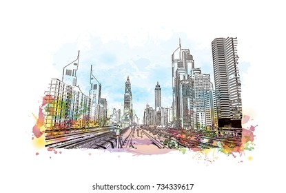 Watercolor splash with hand drawn sketch of Dubai Metro track with Sheikh Zayed Road view, UAE in vector illustration.