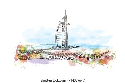 Watercolor splash with hand drawn sketch of Dubai UAE in vector illustration.