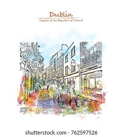 Watercolor splash with hand drawn sketch of Street view Dublin, Ireland in vector illustration.