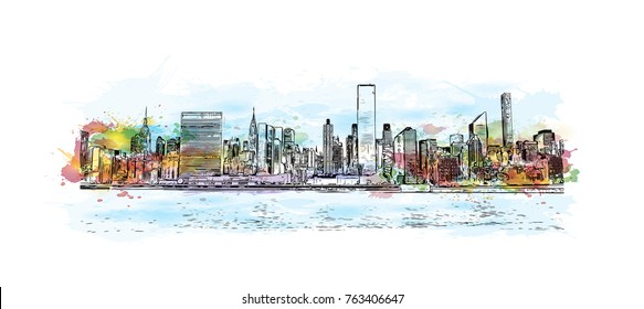 Watercolor splash with hand drawn sketch of New York City skyline in vector illustration.