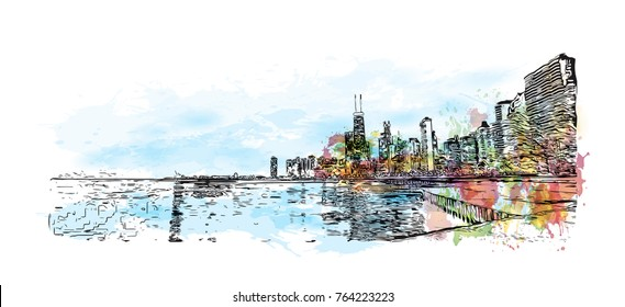 Watercolor splash with hand drawn sketch of Skyline Chicago, USA in vector illustration.