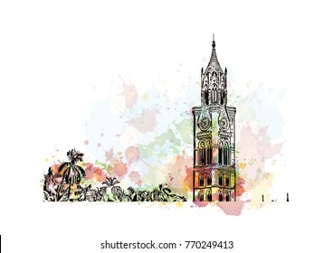 Watercolor splash with hand drawn sketch of Rajabai Clock Tower, Mumbai, India in vector illustration.