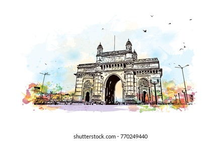 Watercolor splash with hand drawn sketch of Gateway of India Mumbai, India in vector illustration.