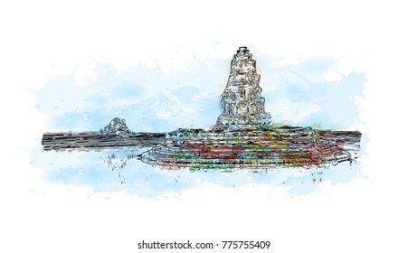 Watercolor splash with hand drawn sketch of Angkor Wat Temple, Cambodia in vector illustration.