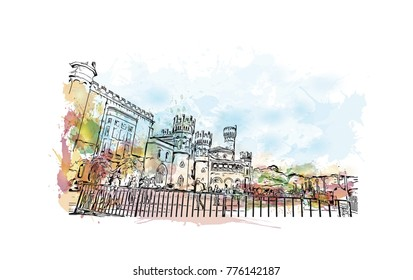 Watercolor splash with hand drawn sketch of Bangalore Palace, India in vector.