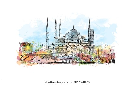 Watercolor splash with hand drawn sketch of The Blue Mosque, (Sultanahmet Camii), Istanbul, Turkey in vector.