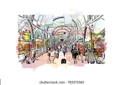 Watercolor splash with hand drawn sketch of Grand Bazaar, Istanbul, Turkey in vector.
