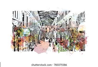 Watercolor splash with hand drawn sketch of Grand Bazaar, Istanbul, Turkey in vector.