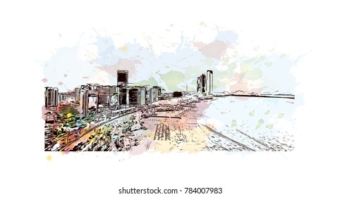 Watercolor splash with sketch of Abu Dhabi skyline, UAE in vector.