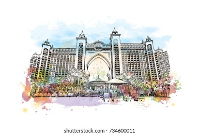 Watercolor splash with sketch of Atlantis Hotel Dubai UAE in vector illustration.