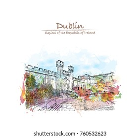 Watercolor splash with sketch of Dublin Castle off Dame Street, Dublin, Ireland in vector illustration.