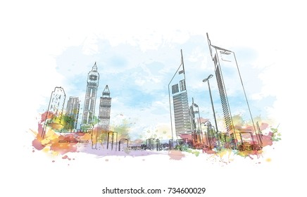 Watercolor splash with sketch of Emirates Tower Dubai UAE in vector illustration.
