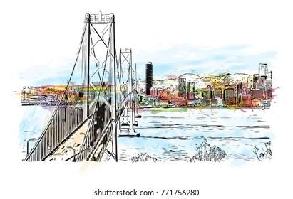 Watercolor splash with sketch of Golden Gate, San Francisco, California, USA. in vector illustration.