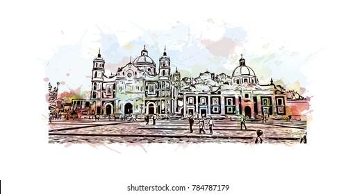 Watercolor splash with sketch of Mexico City in vector.