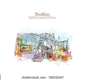Watercolor splash with sketch of the Molly Malone statue in Grafton Street, is a popular song, set in Dublin, Ireland in vector illustration.