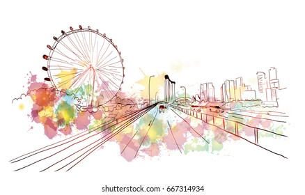 Watercolor splash with sketch of Singapore in vector.