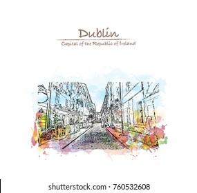 Watercolor splash with sketch of Street Dublin, Ireland in vector illustration.