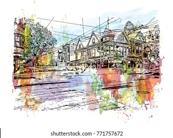 Watercolor splash with sketch of street San Francisco, California, USA in vector illustration.