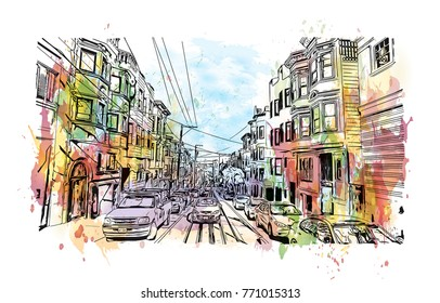 Watercolor splash with sketch of Street view San Francisco, California, USA in vector illustration.