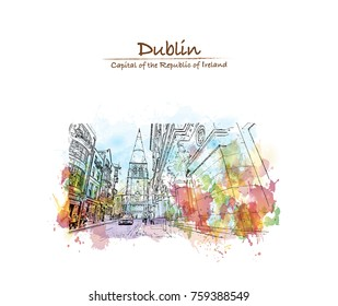 Watercolor splash with sketch of view of Grafton Street in Dublin Ireland in vector illustration.
