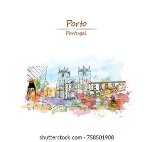 Watercolor splash with sketch of view on the square with Se cathedral Porto city, Portugal  in vector illustration.