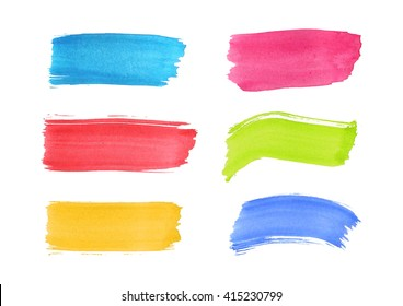 Watercolor splashes isolated on white