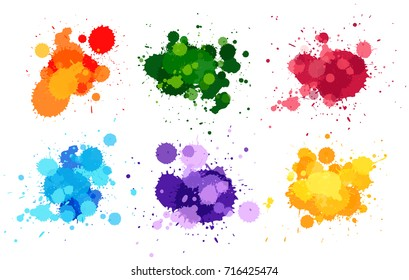 Watercolor splashes in six colors illustration
