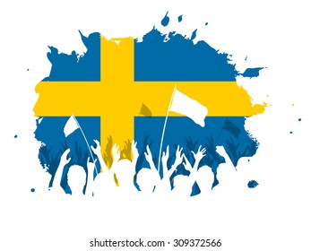 Watercolor spot design with cheering, celebrating or protesting crowd of people with Sweden flag