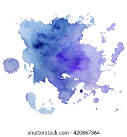 Watercolor spot with droplets, smudges, stains, splashes. Colorful multicolor blot in grunge style. To design and decor backgrounds, banners, flyers.