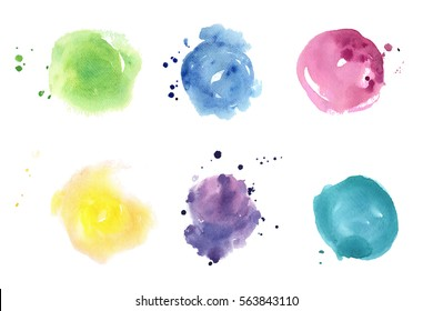 Watercolor spots set. Pastel colors splash, stains.