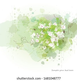 Watercolor spring background green sketch