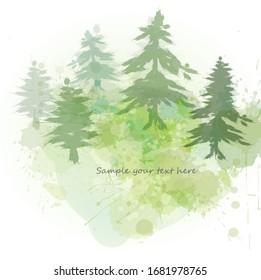Watercolor spring illustration splash green sketch outdoor