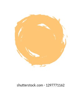 Watercolor stain circle brushstroke isolated on white background. The sketch was drawn yellow ink in handmade technique. The design graphic element is saved as vector illustration in EPS file format.