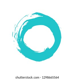 Watercolor stain circle brushstroke isolated on white background. The sketch was drawn turquoise ink in handmade technique. The design graphic element is saved as a vector illustration in EPS file.