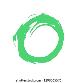 Watercolor stain circle brushstroke isolated on white background. The sketch was drawn green ink in handmade technique. The design graphic element is saved as a vector illustration in EPS file format.
