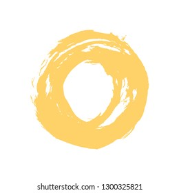 Watercolor stain circle brushstroke yellow color isolated on white background.