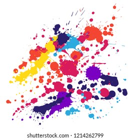 Watercolor stains grunge background vector. Colored ink splatter, spray blots, dirty spot elements, wall graffiti. Watercolor paint splashes pattern, smear liquid stains spots backdrop.